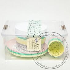 """Фото  товару Набір Посуду у контейнері (на 6 персон) ІЗ ДЕКОРОМ (7,9л) """"Алеана"""""""