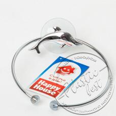 """Фото  товару Тримач (Кольцо) для баного полотенця  W2508 (на присосках) """"Хром"""""""
