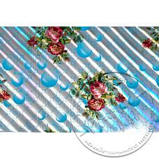 """Фото  товару 4159 C Клейонка в рулонах ПВХ на нетканій основі (1.37 - 25 м) """"Квіти бірюза """"Скатертина"""""""