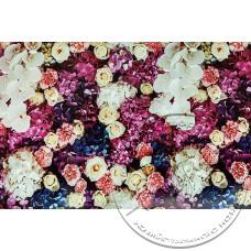 """Фото  товару 4165 Клейонка в рулонах ПВХ на нетканій основі (1.37 - 25 м) """"Квіти червон/бежі""""Скатертина"""""""