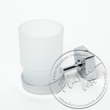 """Фото  товару Стакан для зуб.щіток №8803, Скляний із сталевим кріпленням на стіну (6.5*11*9.5см.)  """"АМА"""""""